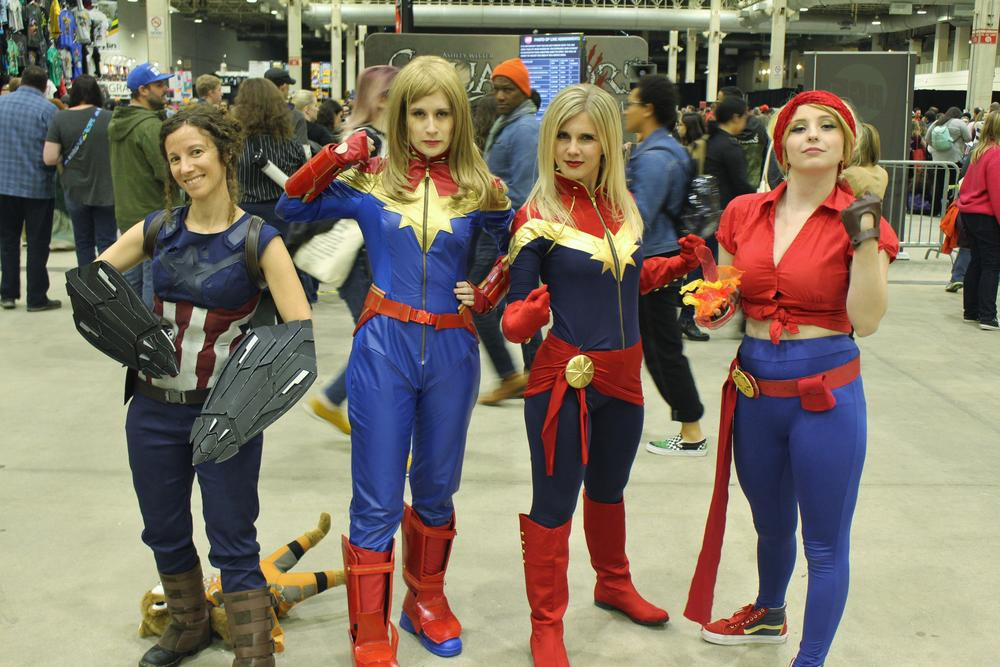 Captain Marvel and Captain America cosplayers