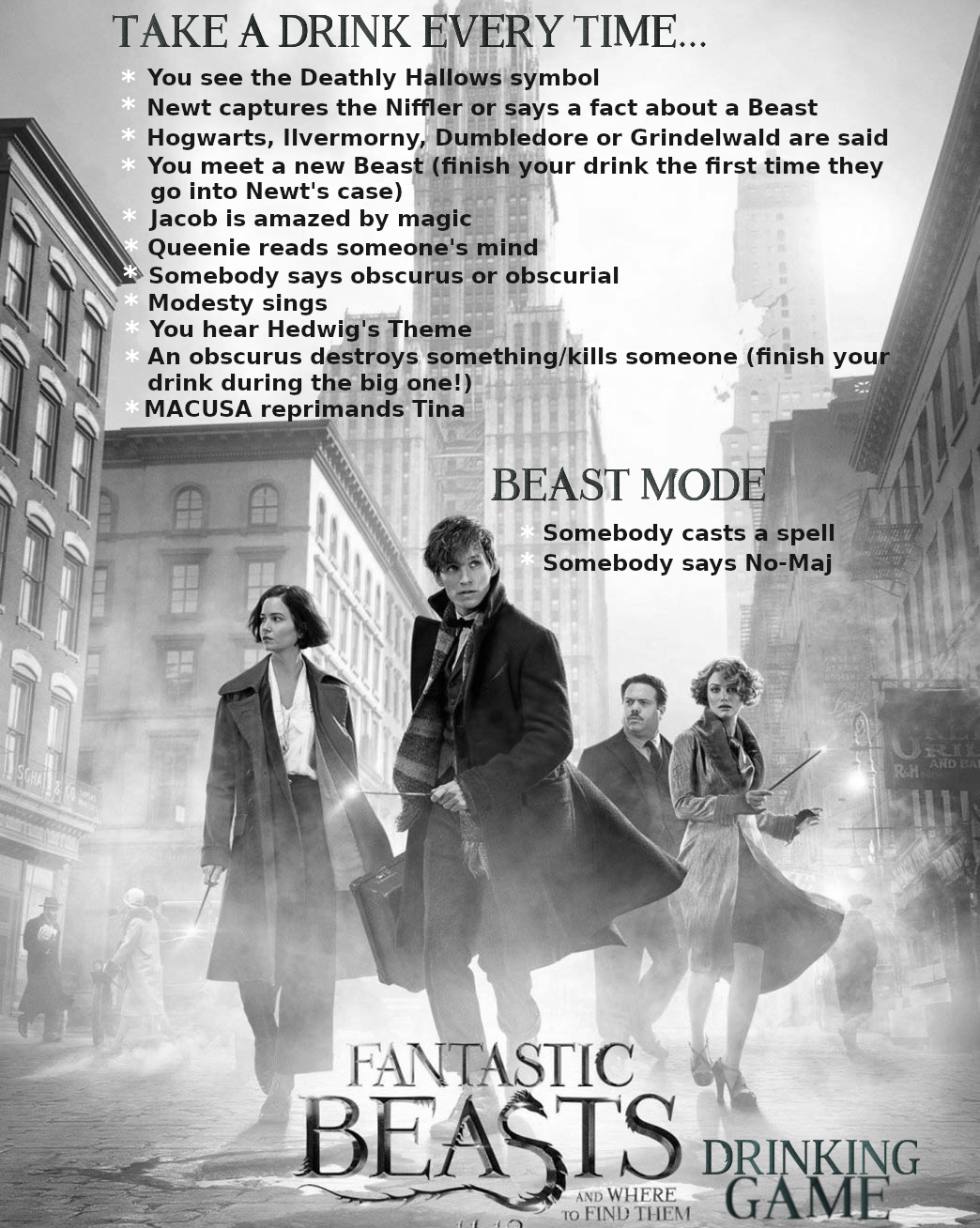 fantastic beasts drinking game