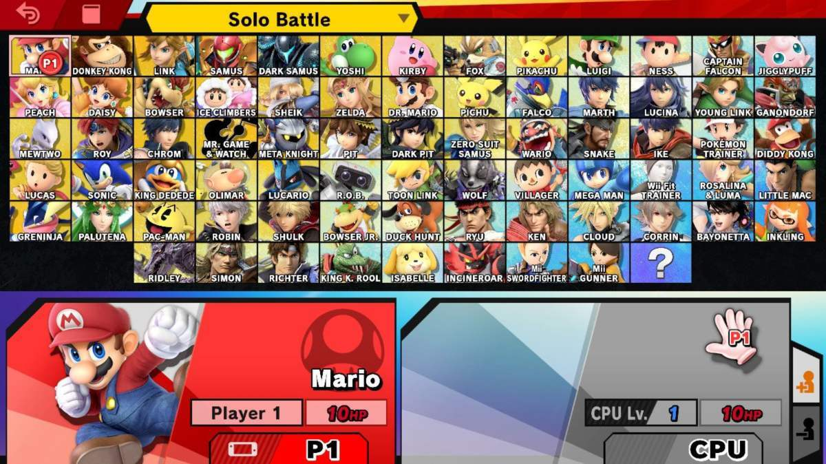 smash ultimate character select screen
