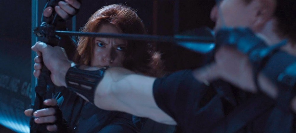 Black Widow and Hawkeye face off in The Avengers