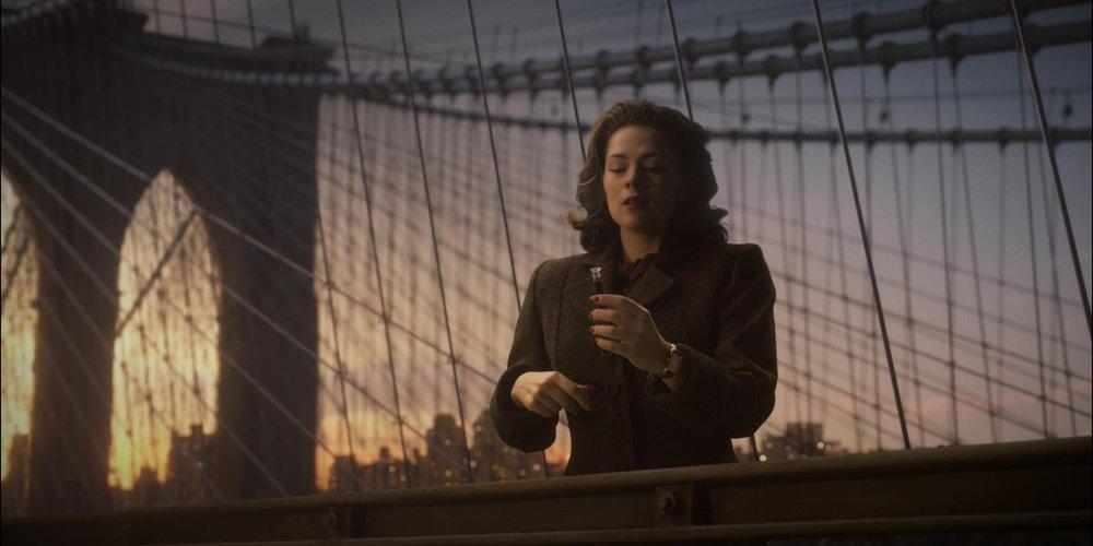 Peggy Carter on the Brooklyn Bridge