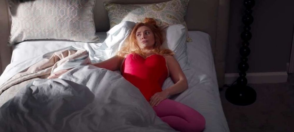"Wanda depressed and lying in bed in WandaVision ""Breaking the Fourth Wall"""